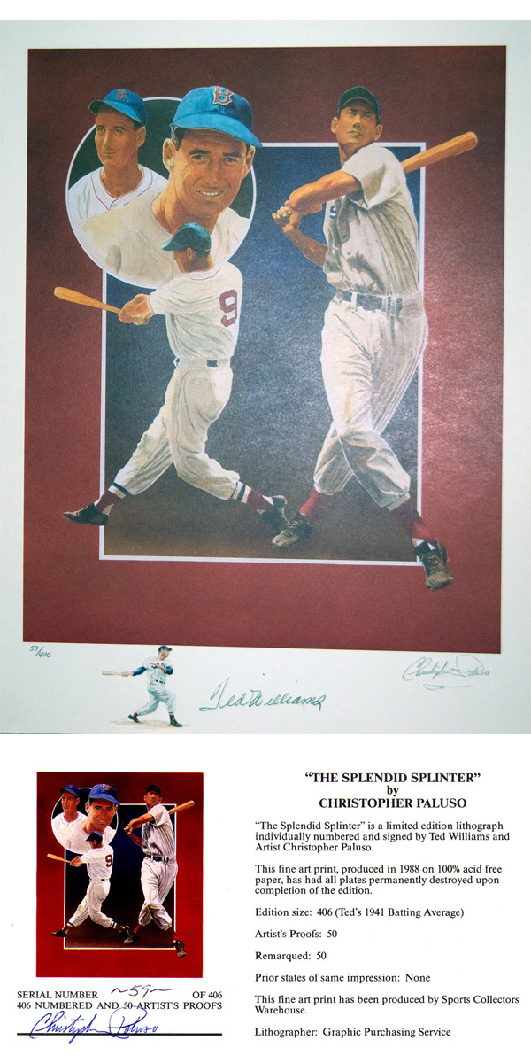 "Image: Ted Williams ""Splendid Splinter"" Fine Lithograph"